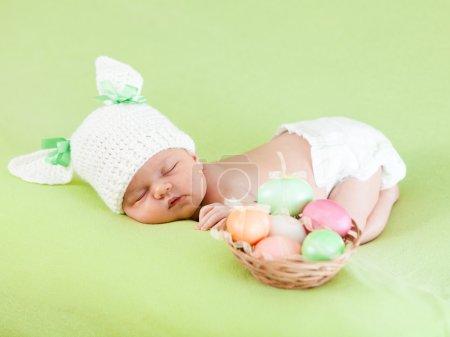 Baby in bunny cap