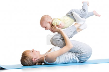 mother and baby making fitness exercises