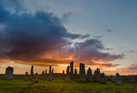 Sunset with Stone circle