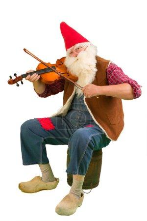 Photo pour Drôle de nain de jardin jouant sur un violon - image libre de droit
