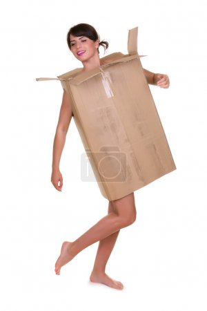 Photo for Funny photo of a young woman with nothing to wear but waste materials - this is part of a series with jute bag, toilet paper, bubble wrap etc - Royalty Free Image