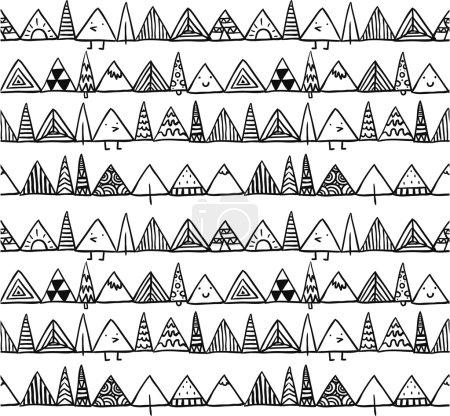 Illustration pour Modèle sans couture doodle avec des formes triangulaires - image libre de droit