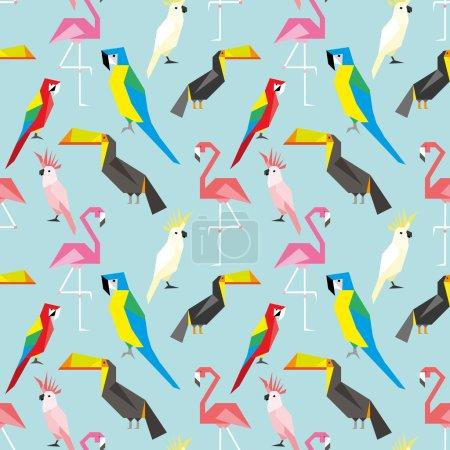 Illustration pour Modèle sans couture avec des oiseaux géométriques mignons - image libre de droit