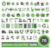 set of green and gray repair icons