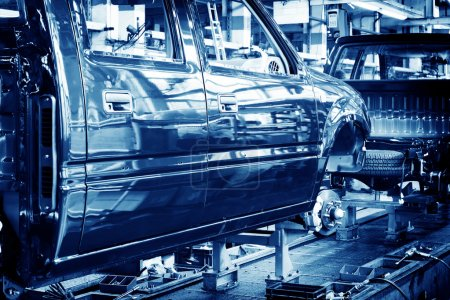 Photo pour Plancher d'usine, lignes de production de voiture. - image libre de droit