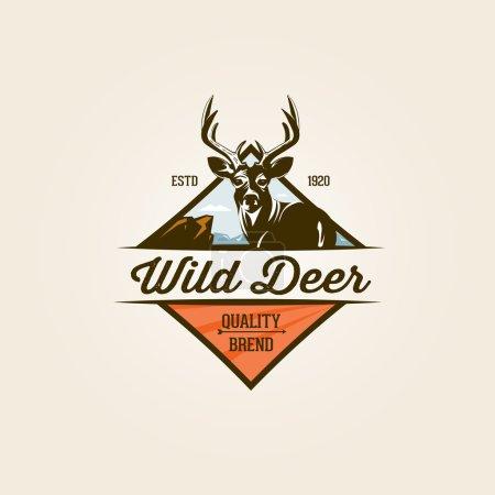 Illustration pour Vintage sauvage cerf nature étiquette et logo modèle - image libre de droit