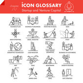 High quality outline icons pack of startup business and venture capital