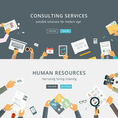 Set of Flat Style Designs Business Concepts Human Resources Teamwork Consulting Planning Brainstorming and Presentation Concepts Design Marketing and Online Payments