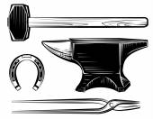 Vector set of blacksmith craft anvil hammer pincers