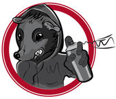 Vector badge with man rat graffiti
