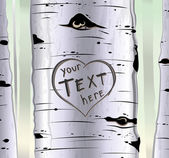 Birch tree with carved hearts and place for text