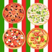 Set pizza on the table with Italian flag