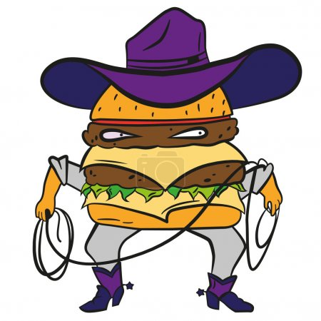 Funny cowboy burger, cheeseburger in a hat and lasso