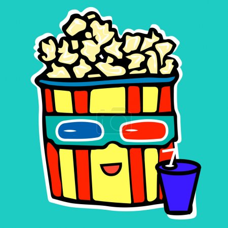 Popcorn drinks cola while watching a movie in a movie theater in anaglyph glasses