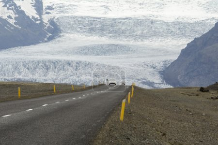 Photo for Ring Road in the southern of Iceland with glacier as background - Royalty Free Image