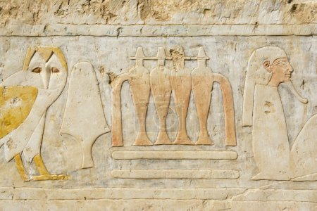 Painting at the temple of Hatshepsut, Luxor, Egypt...