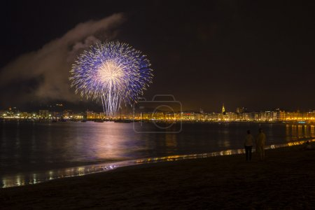 Fireworks in Donostia, Gipuzkoa (Spain)