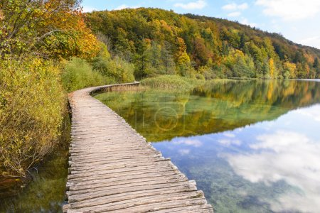 Photo for Boardwalk in Plitvice Lakes National Park in Autumn, Croatia - Royalty Free Image