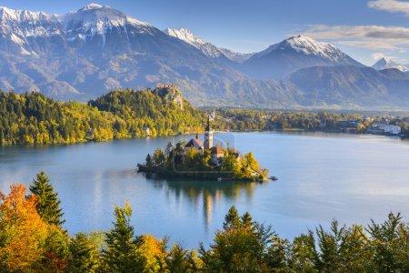 Photo pour Vue panoramique du lac de Bled depuis le mont. Osojnica, Slovénie - image libre de droit