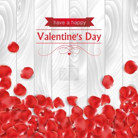 Illustration pour Carte Saint-Valentin avec pagaies roses en forme de coeur sur fond de bois blanc . - image libre de droit