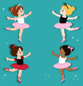 Vector illustration of cute little ballerinas Ballet Slippers Clip art cute characters pink tutus ballet shoes