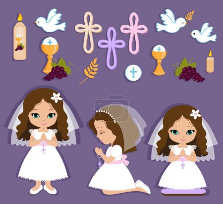 Illustration pour Ensemble d'éléments de conception pour la première communion pour les filles . - image libre de droit