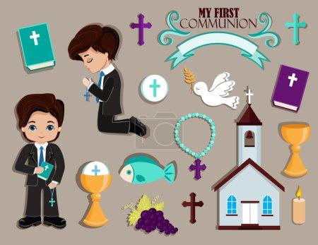 Illustration pour Ensemble d'éléments de conception pour la première communion pour les garçons . - image libre de droit