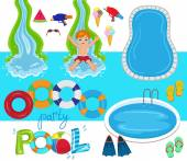 Pool Party Vector Design Illustration
