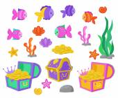 Vector cartoon set of design elements undersea world aquarium