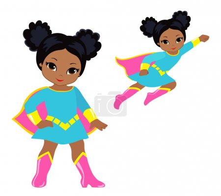 Cute superhero girl vector clip art set.