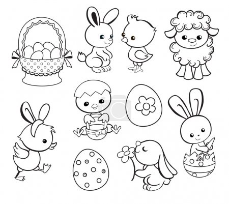 Happy Easter holiday illustration with cute chicken, bunny, duck, lamb cartoon characters.Coloring page. Vector illustration.