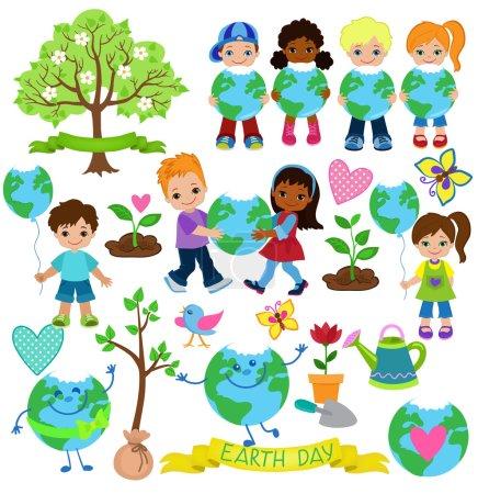 Ekologia elementów, które można używać na dzień ziemi. Szczęśliwe dzieci świętować Dzień Ziemi.