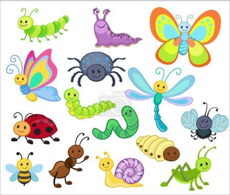 Large Vector Set of Cute Cartoon Bugs