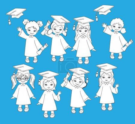 Coloring. Girls. Set of children in a graduation gown and mortarboard. Vector illustration of a group of students and graduates of kindergarten