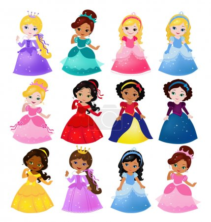 Illustration for Big Bundle cute collection of beautiful princesses - Royalty Free Image