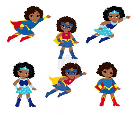 African American Cute superhero girl vector clip art set.