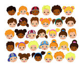 Set of cartoon childrens faces. Cartoon child face icon.