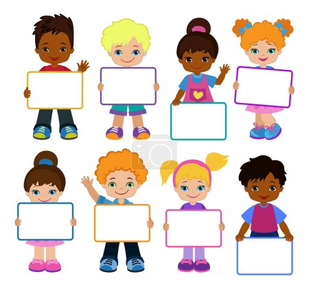 Kids with Signs. Bricht Kids .Frame Board. Clipart. Child meeting frame white board.
