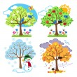 Four Seasons Trees Clipart and Vector with Spring, Summer, Fall and Winter Trees