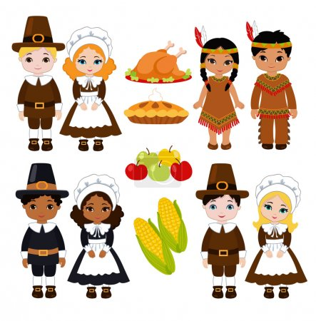 Indians and Pilgrims - sharing food for Thanksgiving