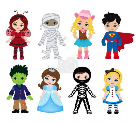 Illustration for Happy Halloween. Funny little children in colorful costumes. Vector illustration. Icon - Royalty Free Image