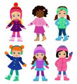 Set of characters funny girls in winter isolated on white background  Winter clothes