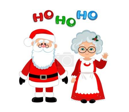 Illustration pour Père Noël et Mme Claus debout Noël . - image libre de droit