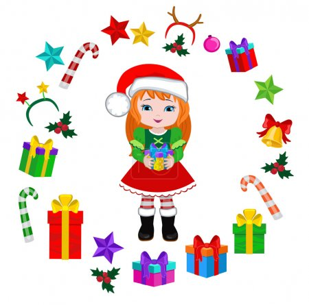 Girl with Christmas Costume and rouhd frame. Vector cartoon illustration.