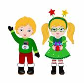 Boy and Girl with Christmas Costume Vector cartoon illustration