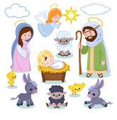 Set of Christmas scene elements Cartoon nativity  holy family
