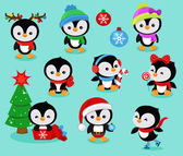 Collection of cute Christmas penguins kids Vector illustration