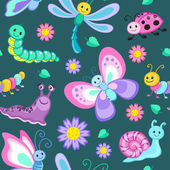 Cute seamless patterns with cartoon  insects