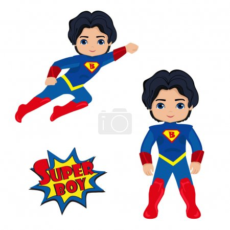 Illustration for Cute Boy superhero in flight and in standing position.Illustration isolated on white background - Royalty Free Image