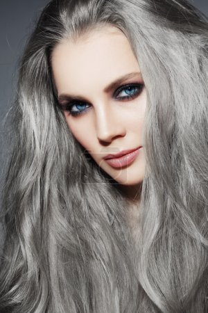 beautiful woman with long grey hair